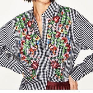 Zara women's embroidered shirt